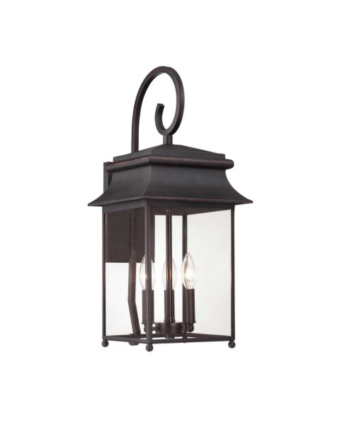 Durham 3-Light Outdoor Wall Lantern with Scroll