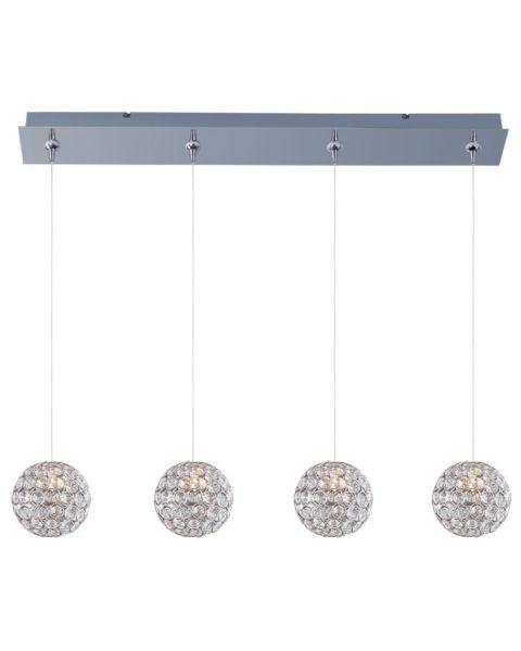 Brilliant 4-Light Crystal Linear Pendant Light
