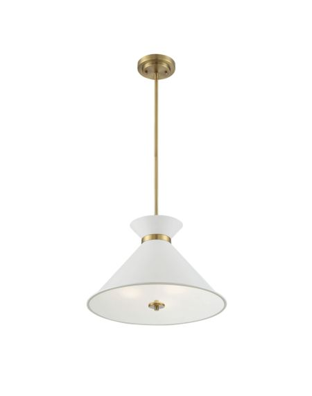 Lamar Pendant in White with Brass Accents